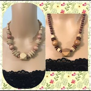 Set of 2 1980's wood bead necklaces.